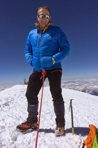Richard Crabtree on the summit of Mont Blanc 4810m