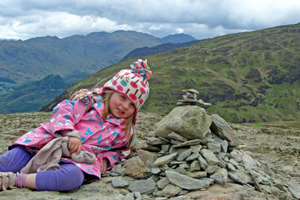 Libby Worthington enjoying a rest at the summit